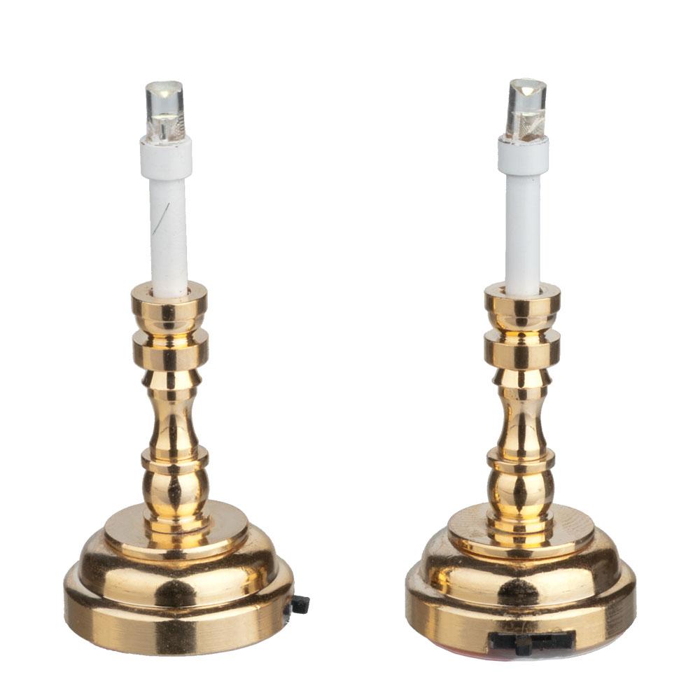 light led brass candlesticks 1pr  2347 battery dollhouse 1